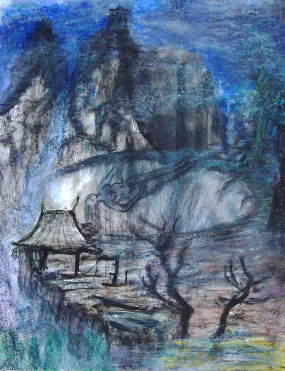 Rêveuse au Temple de la Montagne / Dreamer of the Mountain Temple par Vinca Migot
