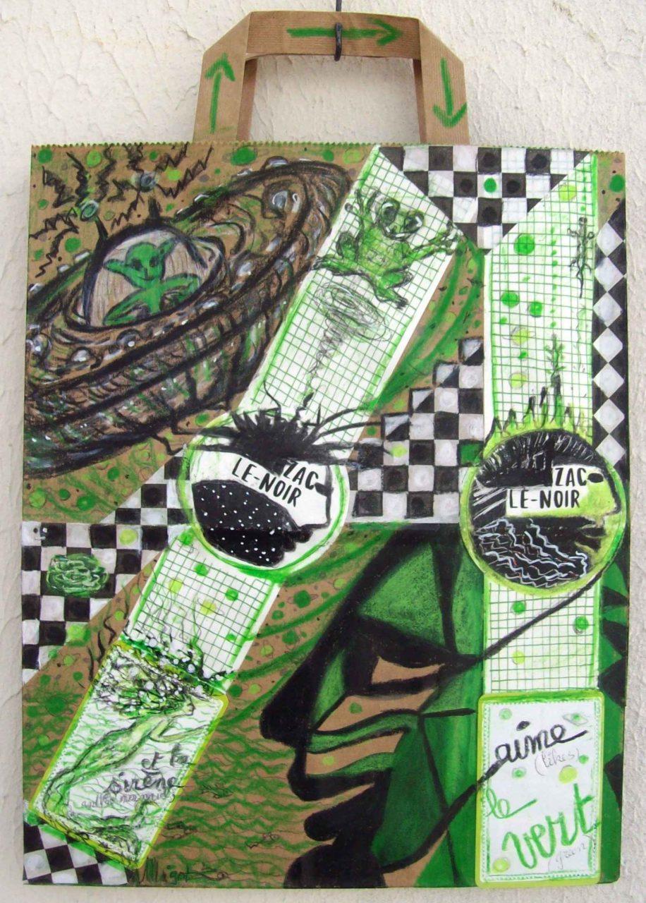 Zac le Noir... aime le vert / likes green par Vinca Migot