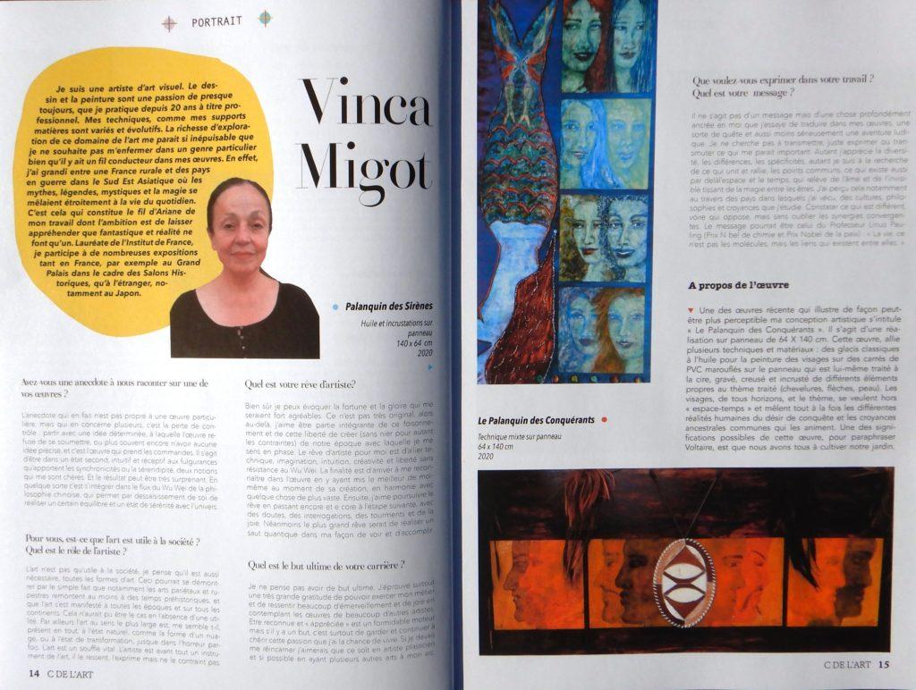 Extrait de l'interview de Vinca Migot pour le journal C de l'Art